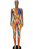 Color Printing Back Hollow Out Sexy Bodycon Jumpsuits YT3267