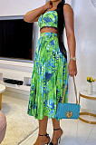 Summer Fashion Casual Print Pleated Sling SKirts W8370