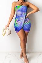 أزياء مثير طباعة المعتوه أنبوب أعلى فستان قصير JH224