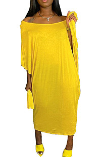 Fashion Pure Color Loose Casual Dresses Contain The Belt W8371