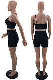 Women Fashion Pure Color Sport Yoga Sling Shorts Two-Piece W8377
