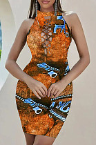 Fashion Print Imitation Cowboy On The Chest Broadside Hollow Out Dresses SXS6038