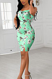 On The Chest Flounce Hrm Open Fork Print Sling Dress SXS6032