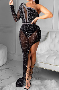 Women Sexy Club Net Yarn Irregular Long Dress XZ5028
