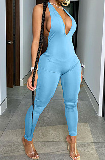 Sexy Pure Color  Backless Deep Neck Hang A Neck Jumpsuits BLX7515