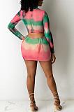 Sexy Fashion Drawsting Tie Dye Print Midi Dress BS1260