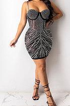فستان قصير مثير بتصميم ملفوف من الصدر XZ5074