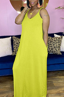 Summer Pure Color Loose Pocket Sling Long Dress BLX8006