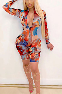 Trendy Coloured Drawing Printing Long Sleeve Casual Romper Shorts XZ5094