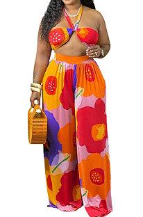 Sexy Halter Neck Bind Bikini Printing Plus Pants Sets NY5076