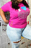 Personality Fashion Euramerican Women Big Size Letter Printing Round Neck Plus Size Tops NY5077