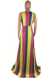 Dew Shoulder Open Fork V Neck Sexy Rainbow Printing Stripe Long Dress AMM8165