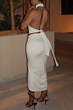 Summer Pure Color Round Neck Midriff Backless Top Drawsting Overskirt Suit ZS0383