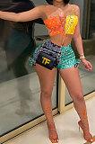 Sexy Vest Printing Bind Shorts Sets  AMM8335