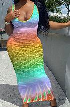 Печатное длинное платье без рукавов с постепенным изменением положения рыбьей чешуи NK229