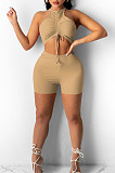Shirrred Detail Vest Shorts Pure Color Stretch Two-Piece YYF8209