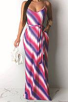 عارضة شريطية طباعة فستان جالوس طويل Casual يحتوي على حزام) AMM8163
