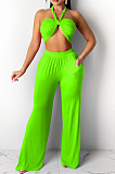 Summer Pure Color Hang A Neck Loose Long Pants Suit YYF8201