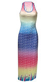 Fish Scales Gradual Change Positioning Printing Sleeveless Long Dress NK229