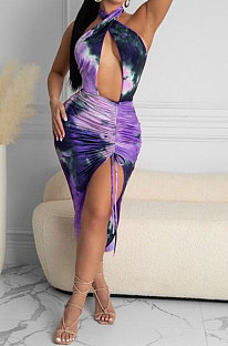 Printing Sexy Backless Cross Package buttocks Mini Dress NRS8048
