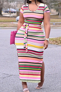 Pit Bar Rainbow Stripe Contain The Belt Long Dress TY2021