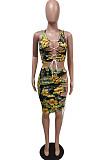 Sexy Bind Fashon Print Skirts Suit F8347
