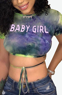 Shorts Sleeve Printing Letter Round Neck Sexy Set Head Crop Tops HYM6082