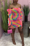 Positioning Print A Word Shoulder Colorful Cultivate One's Mouality Dress WA7159