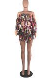 Fashion Euramerican Casual Flower Boob Tube Top Two-Piece MOM5003