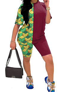 Euramerican Women Two Color Solid Printing Shorts Sets YYF8076