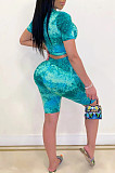 Fashion Casual Tie Dye Print Short Sleeve Shorts Suit TY1825