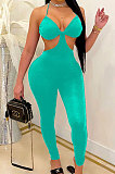 Pure Color Galluis Boob Tube Top Sexy Temperament Cultivate One's Morality Backless Bodycon Jumpsuits MLM9049