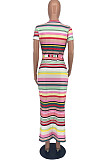 Pit Bar Rainbow Stripe Contain The Belt Long Dress TY2021