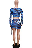 Summer Beach Net Yarn Print Cultivate One's Morality Sport Two-Piece F8348