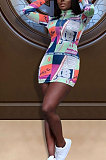 Fashion Sexy Tight Zipper Mini Dress ED8003