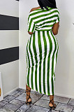 Positioning Prin A Word Shoulder Stripe Fashion Casual Dress WA7166