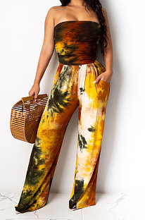 Sleeveless Loose Ruffle Tie Dye Casual Jumpsuit ED8265