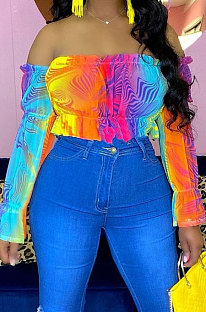 Fashion Rainbow Printing Agaric Edge A Word Shoulder T Shirts ED8377