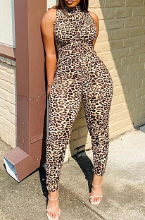 Fashion Cultivate One's Morality Sleeveless Leopard Print Jumpsuits KY3055