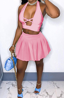 Sexy Hollow Out Hang A Neck Pleated Short Skirt Two-Piece XUY9096