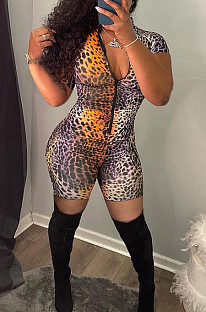 Sexy Cultivate One's Morality Leopard Print Short Zipper Jumpsuit KY3065