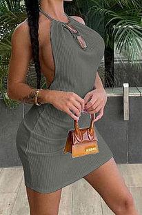 Sexy Bright Silk Backless Round Neck Knotted Strap Rib Mini Dress AYM5009