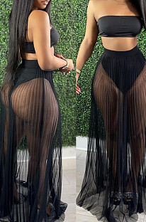 Fashion Fold Net Yarn Perspective Sexy Boob Tube Top Two-Piece LA3263