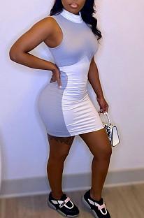Sexy Package Hip Sleeveless Spliced Dress MK008