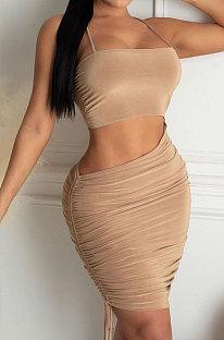 Cute Sexy Trendy Pure Color Mini Dress YZL839