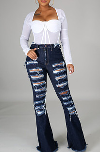 High Waist Hurnt Flower Hole Flare Jeans LA3262