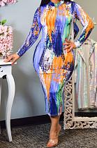 فستان طويل الأكمام بطبعة ربطات عنق من Euramerican PQ8020