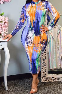 Euramerican Tie Dye Print Long Sleeve Dress PQ8020