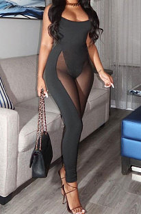 Fashion Sexy Net Yarn Spliced Bodycon Jumpsuits BNB015