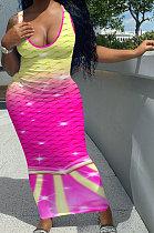 Длинное платье без рукавов с двойным цветным позиционированием с рыбьей чешуей NK232